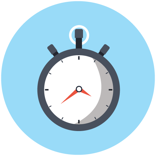 Icon of a stopwatch on a light blue background