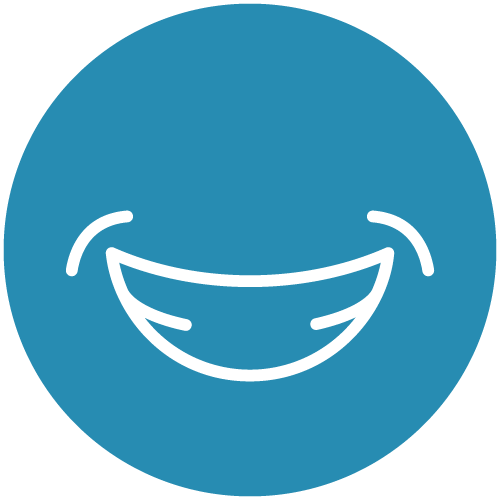 White line icon of a smile on a blue circle